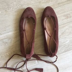 Madewell Suede Burgundy Wrap Up Flats